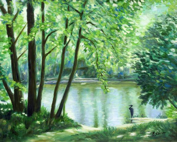 Nature Poster featuring the painting White Lick Creek by Michael Scherer