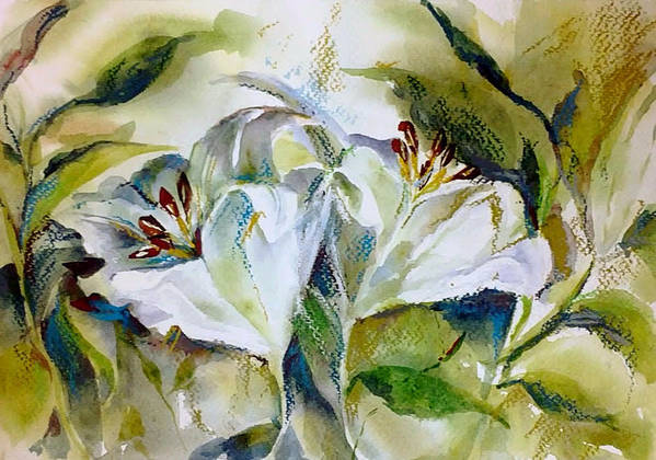 Pastel Poster featuring the painting White Lilies by Jane Bogdanchyk