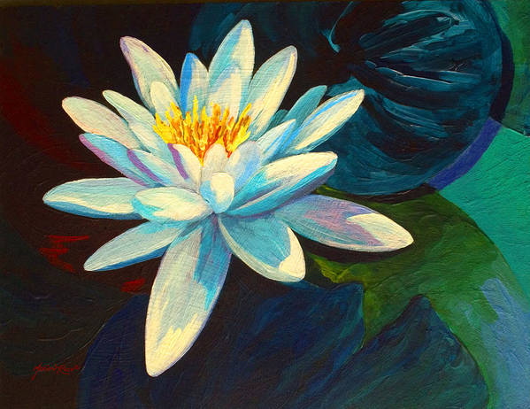 Water Lily Poster featuring the painting White Lily IIi by Marion Rose