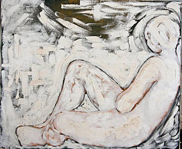 Nude Poster featuring the painting White On White by Jeannette Ulrich