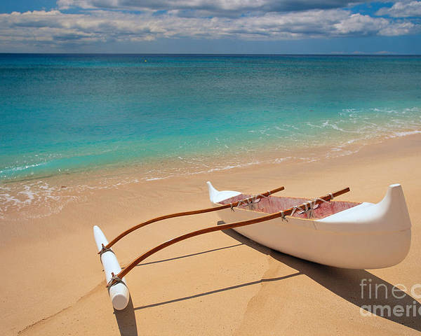 Afternoon Poster featuring the photograph White Outrigger Canoe by Dana Edmunds - Printscapes
