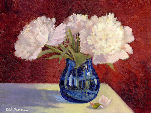 Peonies Poster featuring the painting White Peonies by Keith Burgess