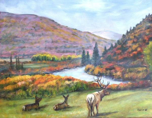 Landscape Poster featuring the painting White River by Darla Joy Johnson
