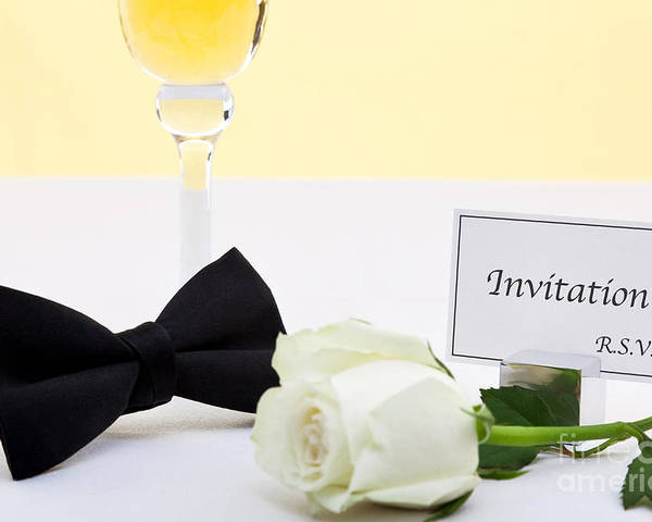 Champagne Poster featuring the photograph White Rose Bow Tie And Invitation. by Richard Thomas