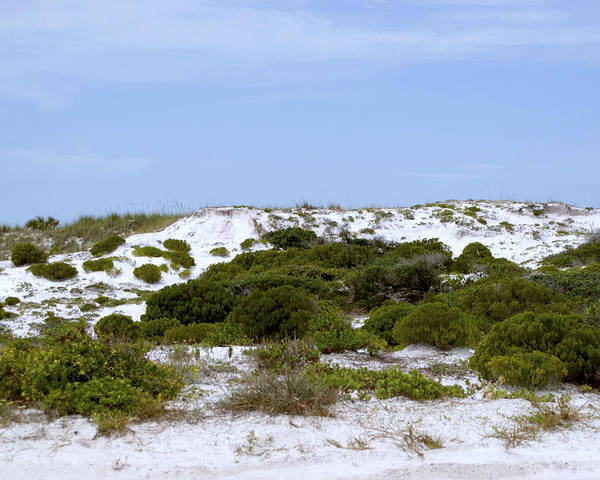 Sand Poster featuring the photograph White Sand Dunes And Blue Skies by Tina B Hamilton