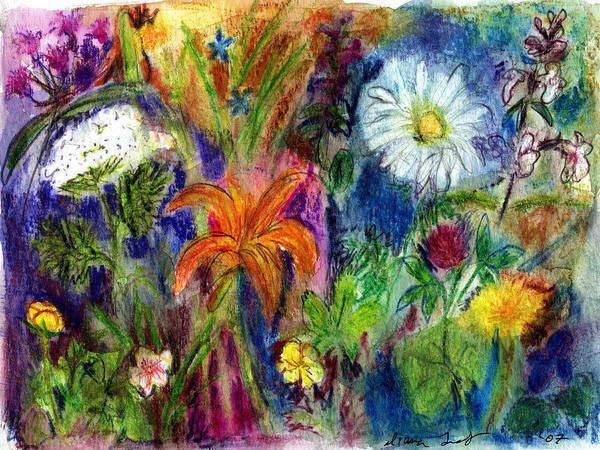 Wildflower Poster featuring the painting Wild Backyard Meadow by Diana Ludwig