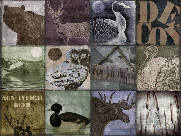 Mancave Poster featuring the painting Wild Game Patchwork II by Mindy Sommers