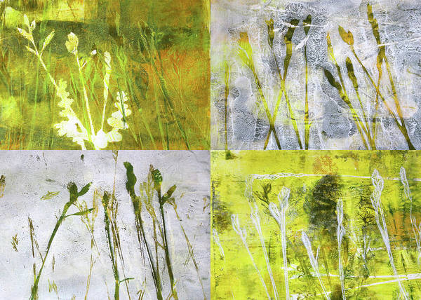 Wild Grass Poster featuring the painting Wild Grass Collage 2 by Nancy Merkle