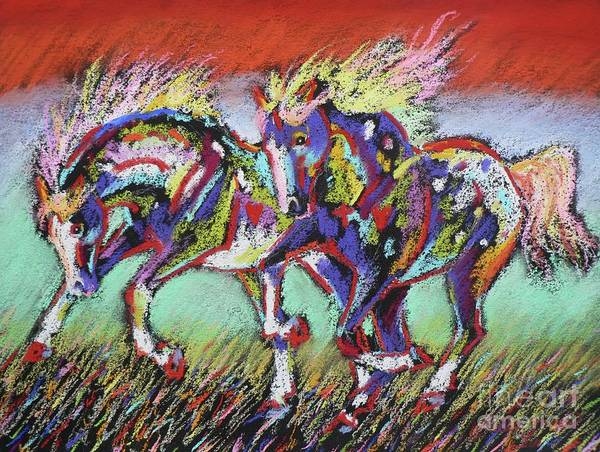 Pastel Ponies Poster featuring the pastel Wild Pastel Ponies by Louise Green