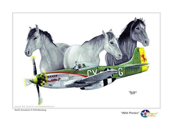 Aviation Poster featuring the drawing Wild Ponys by Trenton Hill