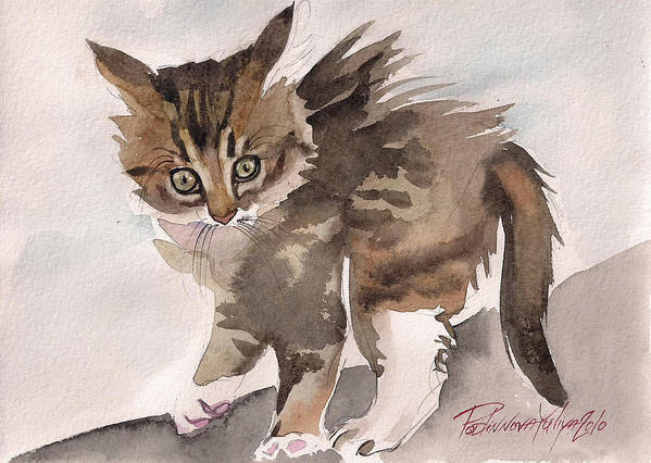 Cat Kitty Kitten Sweet Wild Gray Tabby Watercolor Paper Poster featuring the painting Wild Thing by Yuliya Podlinnova