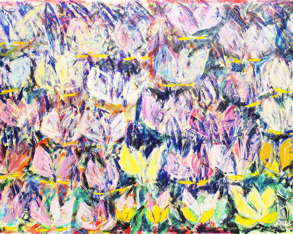 Abstract Flowers Tulips White Pink Yellow Green Blue Poster featuring the painting Wild Tulips by Joan De Bot