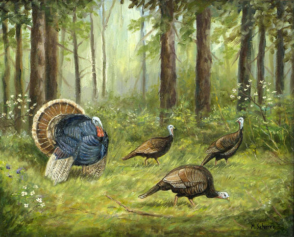 Nature Poster featuring the painting Wild Turkey by Michael Scherer