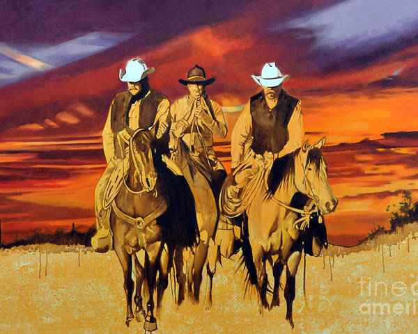 Cowboys Poster featuring the painting Arizona Sunset by Michael Stoyanov
