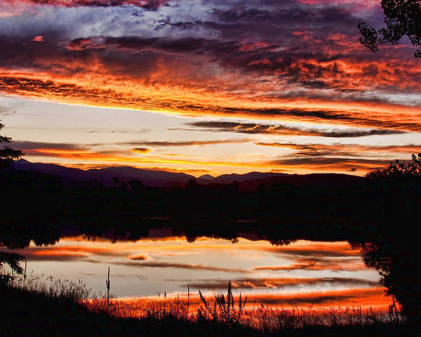 Sunset Poster featuring the photograph Wildfire Sunset Reflection Image 28 by James BO Insogna