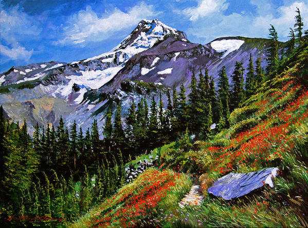 Mountain Poster featuring the painting Wildflowers Mount Hood by David Lloyd Glover