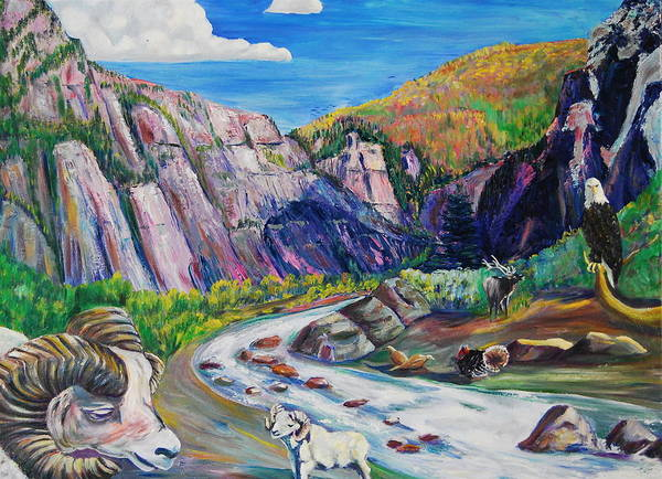 Wildlife Poster featuring the painting Wildlife On The Colorado River by George Chacon