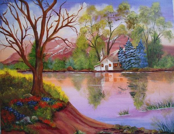 Landscape Reflection Building Church Lake Poster featuring the painting Wildwood Church by Sherry Winkler