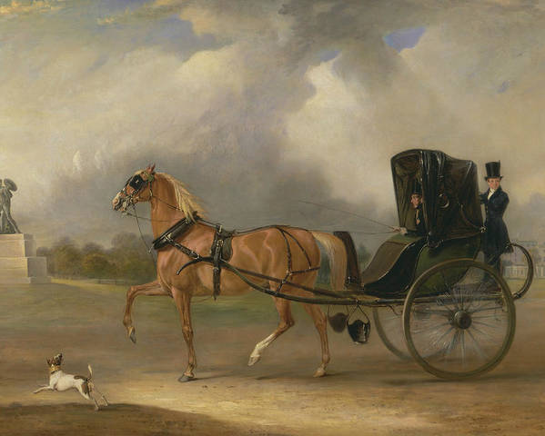 William Massey-Stanley driving his Cabriolet in Hyde Park by John Ferneley