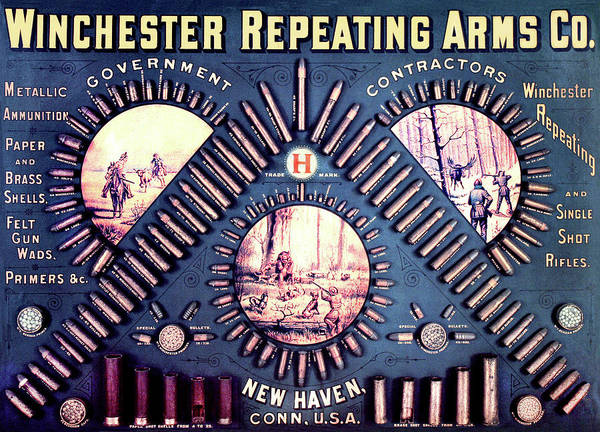 Outdoor Poster featuring the painting Winchester 1888 Cartridge Board by Unknown
