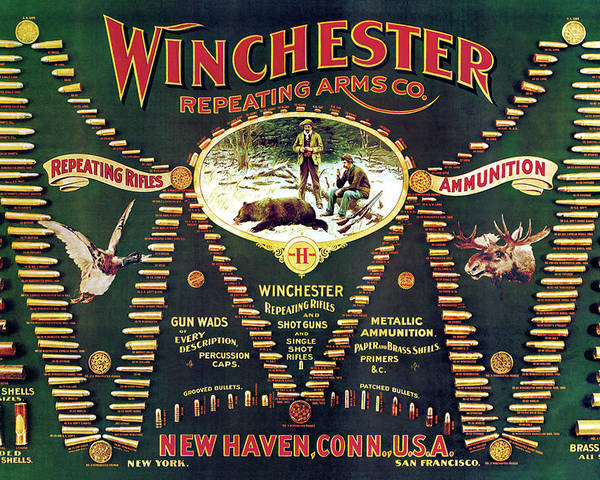 Cartridges Poster featuring the painting Winchester Double W Cartridge Board by Unknown