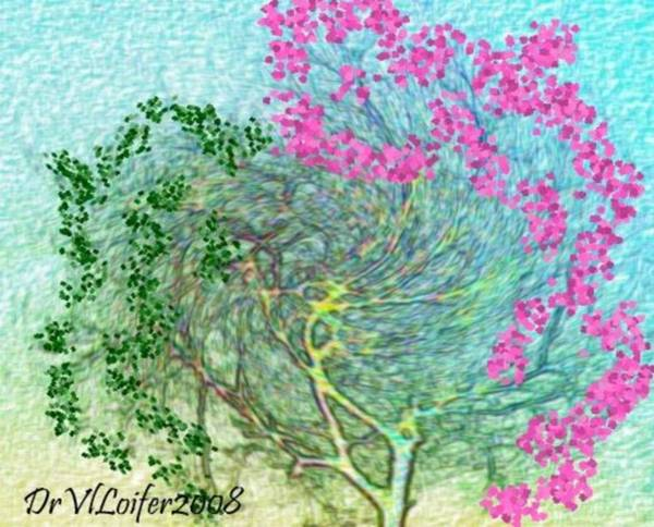 Sky Poster featuring the digital art Wind And Dance.two Trees by Dr Loifer Vladimir
