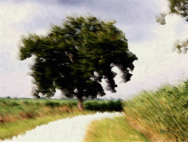 Breeze Poster featuring the digital art Wind Motif Old Dam Road by RC DeWinter