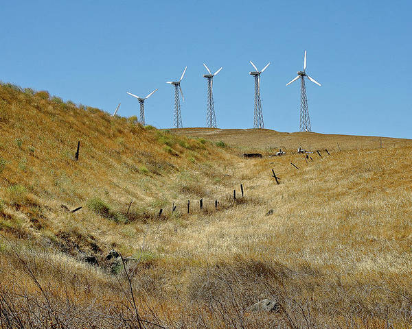 Landscapes Poster featuring the photograph Wind Turbines by Liz Santie