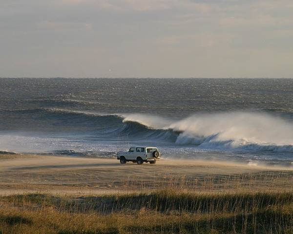 North America Poster featuring the photograph Wind, Waves And Fisherman In An Suv by Skip Brown