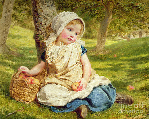 Kid Poster featuring the painting Windfalls by Sophie Anderson