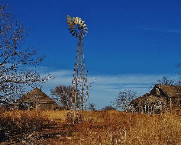 Windmill Poster featuring the photograph Windmill At An Old Farm In Kansas by Greg Rud