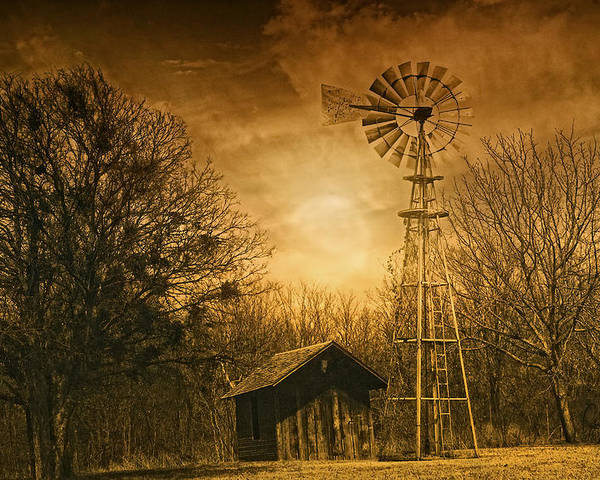 Windmill Poster featuring the photograph Windmill At Sunset by Iris Greenwell