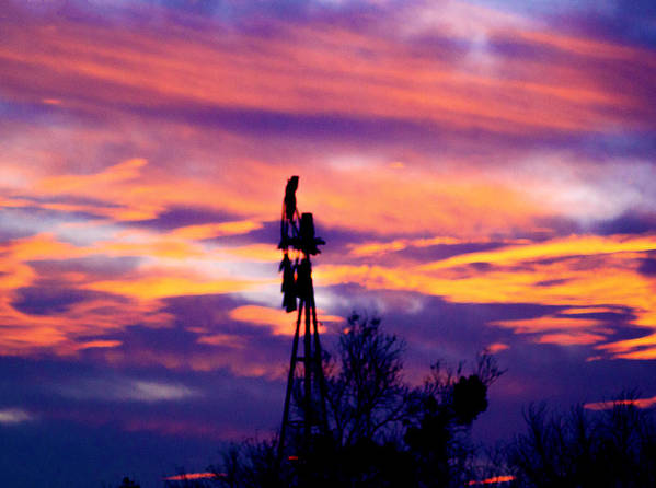 Sunset Poster featuring the photograph Windmill Sunset by Crystal Blair