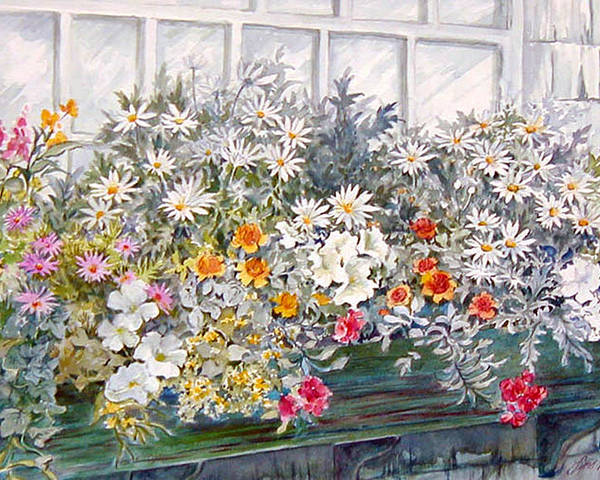 Floral;daisies;pastels; Poster featuring the painting Window Box In The Sun by Lois Mountz