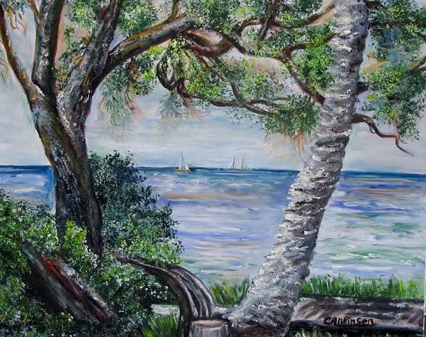 Water Poster featuring the painting Window On Pine Island by Carol Allen Anfinsen