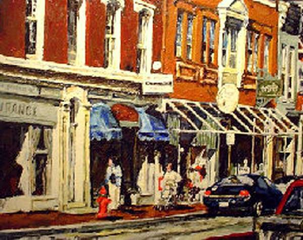 Cityscape Poster featuring the painting Window Shopping by Thomas Akers