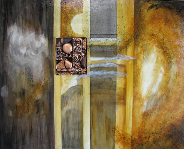 Copper Metal Acrylic Sci Fi Cosmic Nebulous Repousse Poster featuring the mixed media Window To The World by Judy McFee