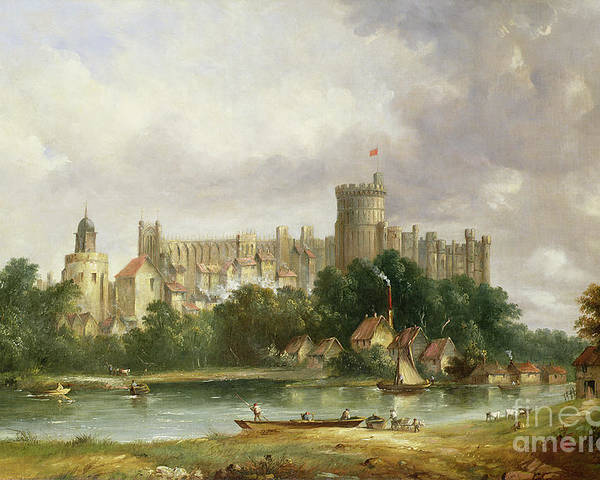 Windsor Poster featuring the painting Windsor Castle - From The Thames by Alfred Vickers