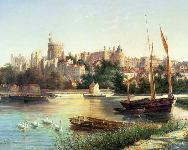 Windsor Poster featuring the painting Windsor From The Thames  by Robert W Marshall