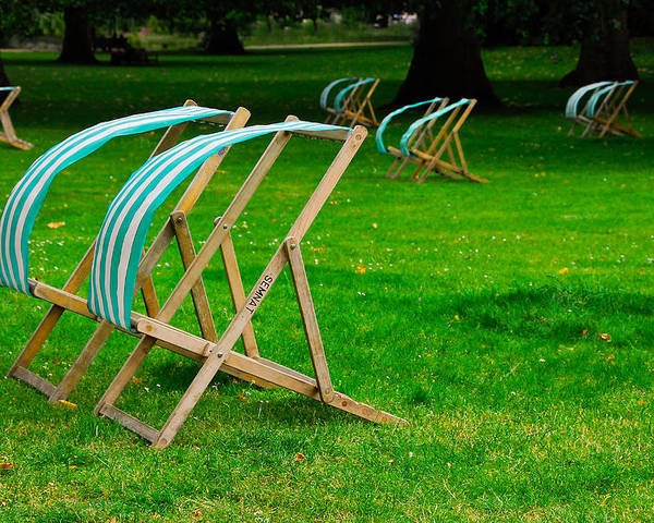 Lawn Chairs Poster featuring the photograph Windy Chairs by Harry Spitz
