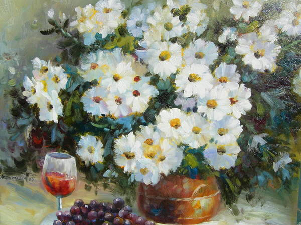 Still Life Poster featuring the painting Wine And Flowers by Imagine Art Works Studio