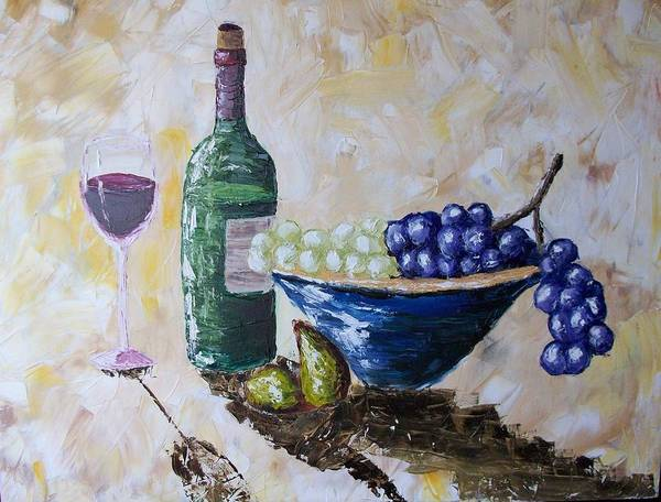 Wine Poster featuring the painting Wine And Grapes by Craig Wade