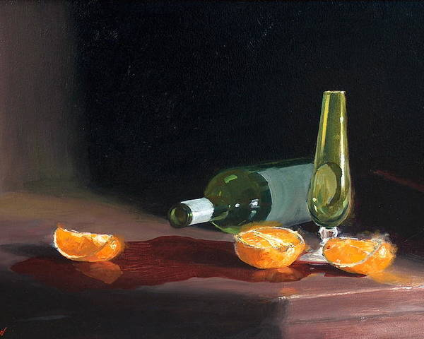 Still Life Poster featuring the painting Wine And Oranges by Greg Clibon