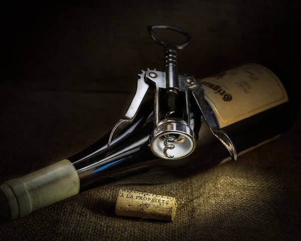 Colour Poster featuring the photograph Wine Bottle, Corkscrew And Cork by Ian Barber