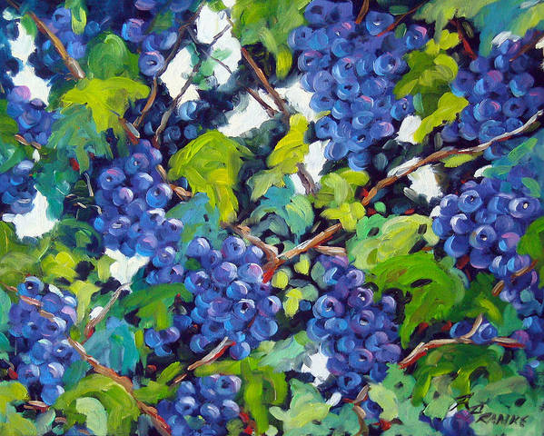 Fruits Poster featuring the painting Wine On The Vine by Richard T Pranke