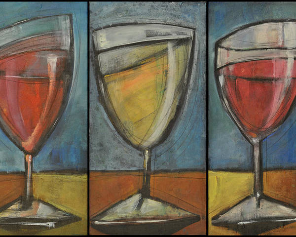 Wine Poster featuring the painting Wine Trio - Option One by Tim Nyberg