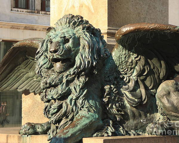 Venice Poster featuring the photograph Winged Lion In Venice by Michael Henderson