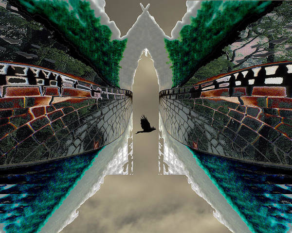 Potography Digital Landscape Wedgetail Eagle Birds Insects Rainforest Global Warming Poster featuring the painting Wings To A Rainforest by Sarah King
