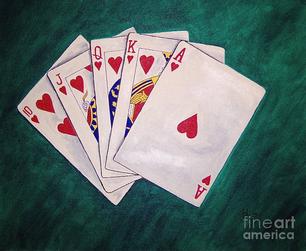 Playing Cards Wining Hand Role Flush Poster featuring the painting Wining Hand 2 by Herschel Fall