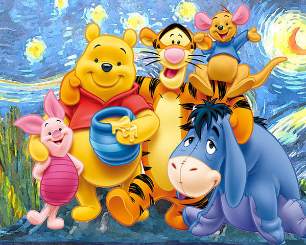 Winnie The Pooh Starry Night Poster featuring the digital art Winnie the Pooh Starry Night by Midex Planet